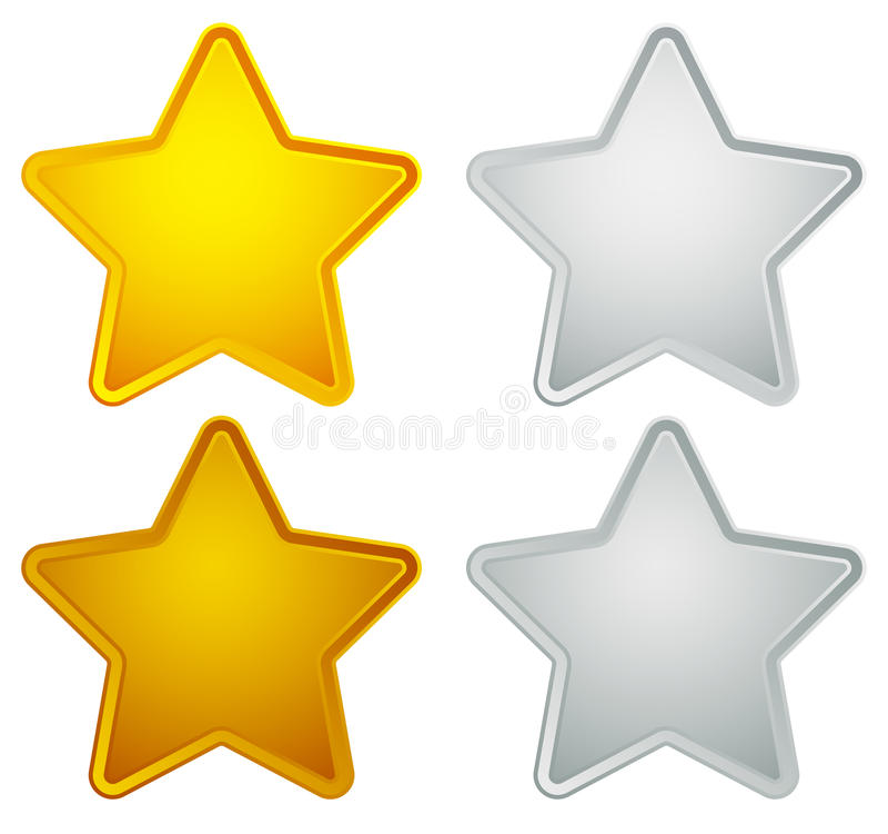 金子,银,古铜,白金星形状隔绝在白色 皇族释放例证