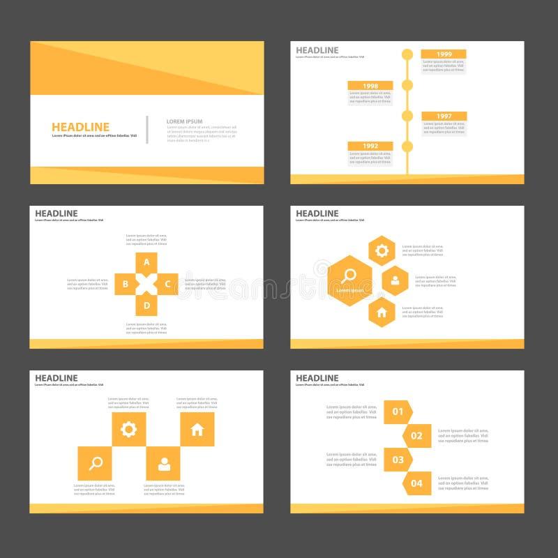 金子黄色Infographic元素象介绍模板平的设计为给营销小册子飞行物做广告设置了 皇族释放例证