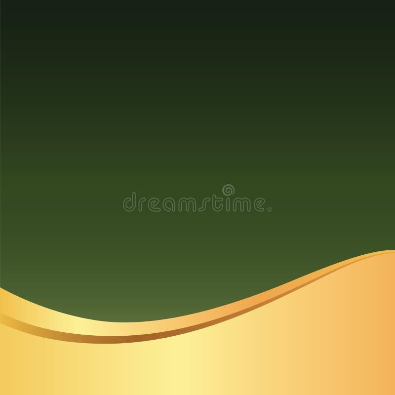 金子/金黄波浪典雅的绿色背景/样式卡片、海报、网站或者邀请的 库存例证