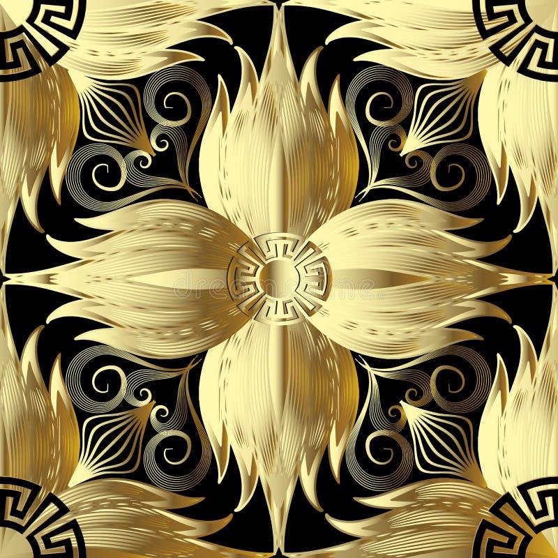 金子3d开花无缝的样式 抽象backgro花卉向量 库存例证