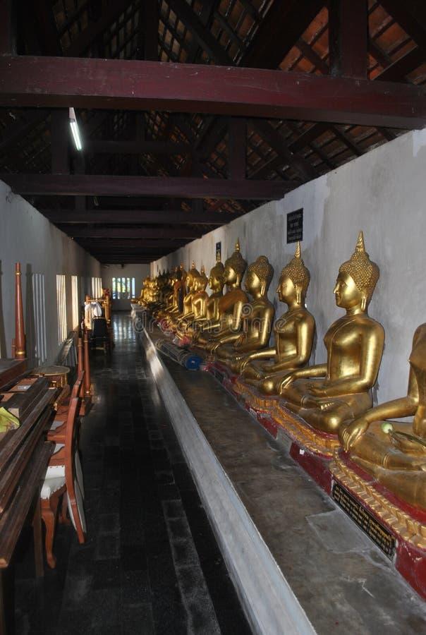 金子Budha在Wat Pha Sri拉塔纳mahathat phitsanulok泰国的雕象凝思 图库摄影