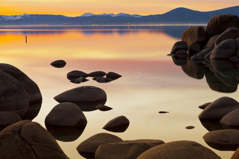 金子Tahoe日落 免版税图库摄影