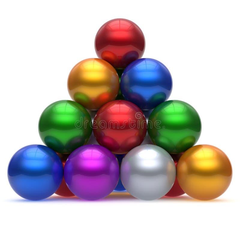 金字塔公司球形球红顶顺序领导胜利 库存例证