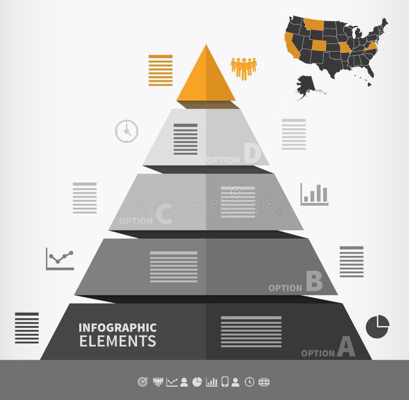 金字塔形infographic元素 向量例证