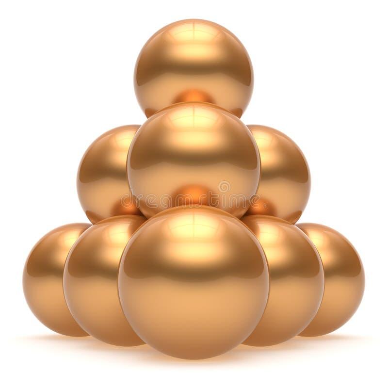 金字塔球形球阶层上面顺序领导金黄小组 皇族释放例证
