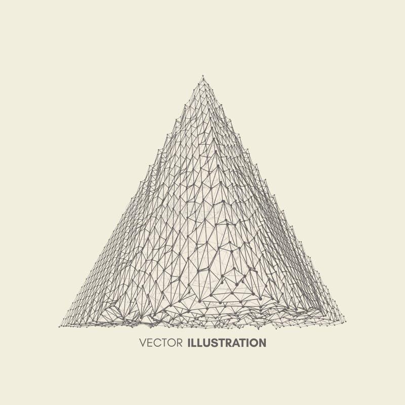 金字塔 正四面体 帕拉图式的固体 3D连接结构 设计的格子几何元素 库存例证