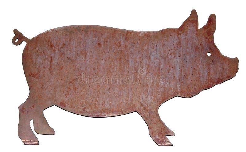 金属与逗人喜爱的尾巴的BBQ猪 库存图片