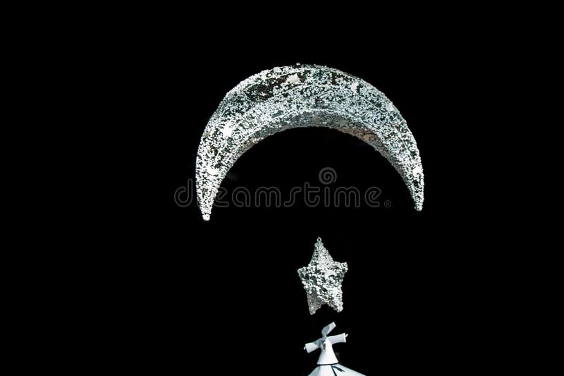 金属伊斯兰教的新月形月亮象 免版税库存图片