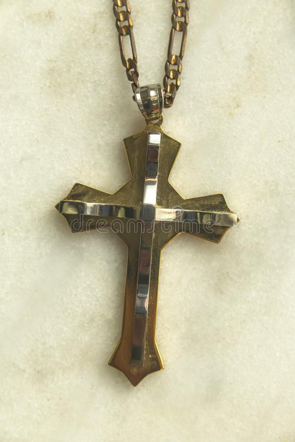 金属做了基督徒十字架 库存照片