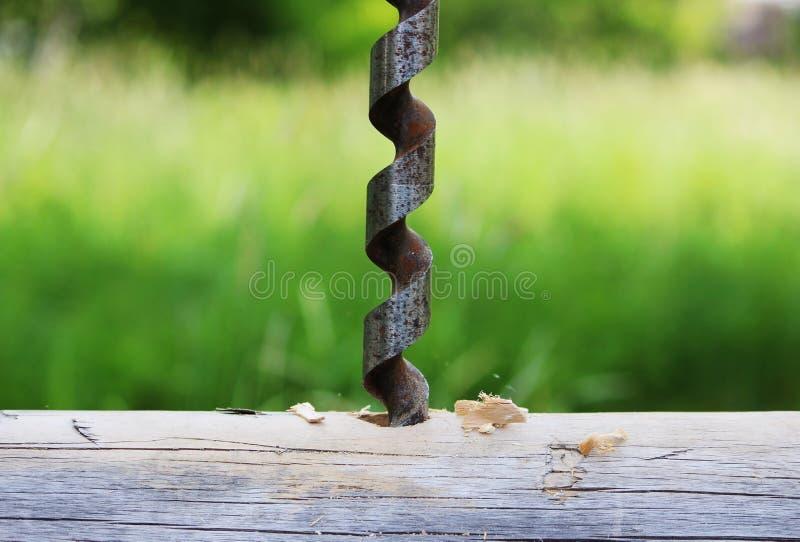 金属做的孔螺旋钻子在日志,当装配一个木制框架和修建房子时 库存图片