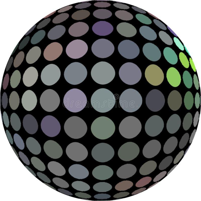 金属全息图马赛克球形3d对象 向量例证