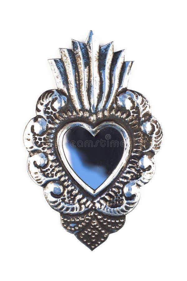 金属制作银色心脏 库存图片
