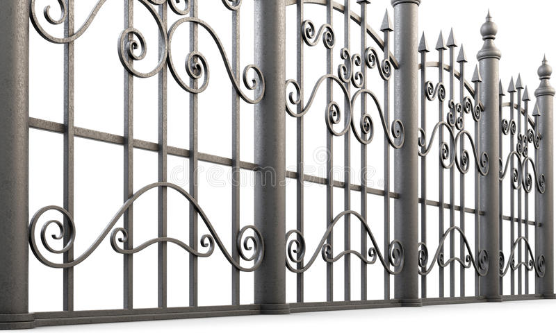 金属加工的篱芭的片段在白色背景的 3d回报 库存例证