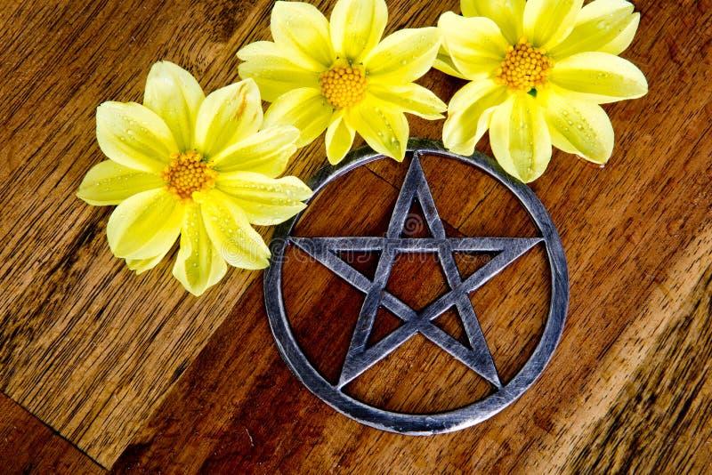 金属化与黄色大丽花花的五角星形在木背景 免版税库存图片