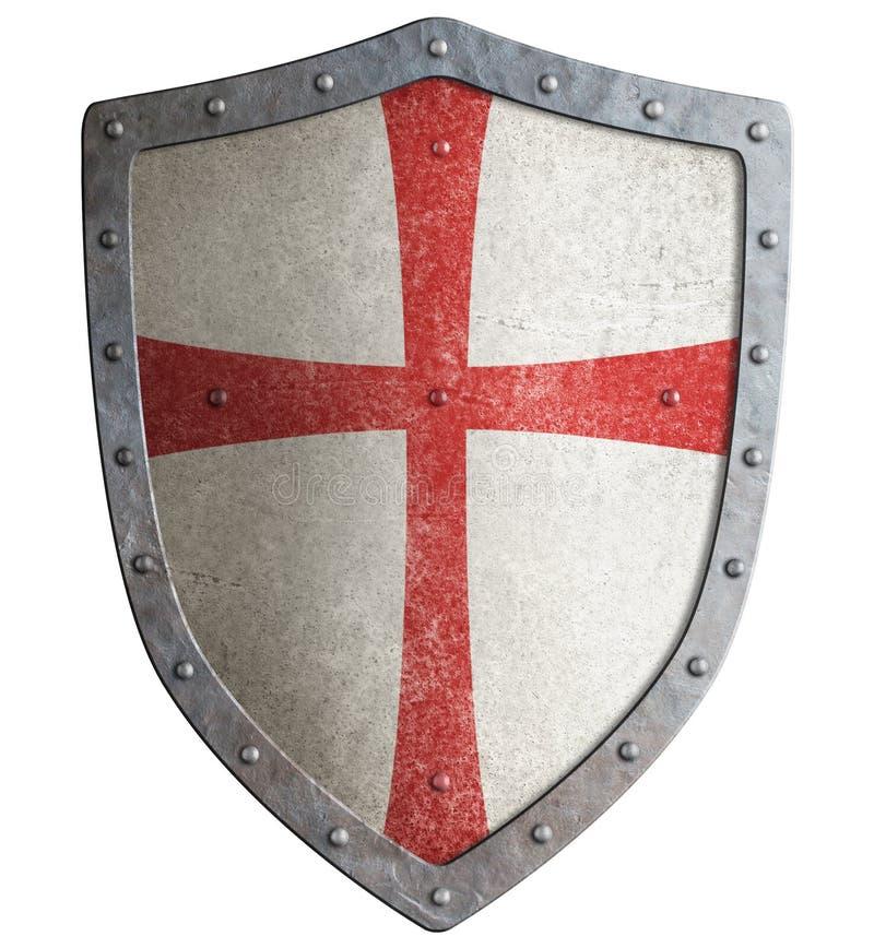 金属化中世纪templar或烈士3d例证盾  库存例证