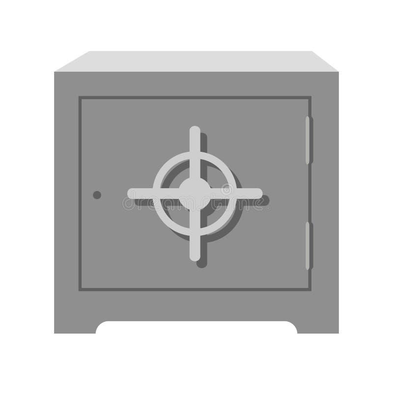 金属化有圆的把柄的方形的重的古板的保险柜 皇族释放例证
