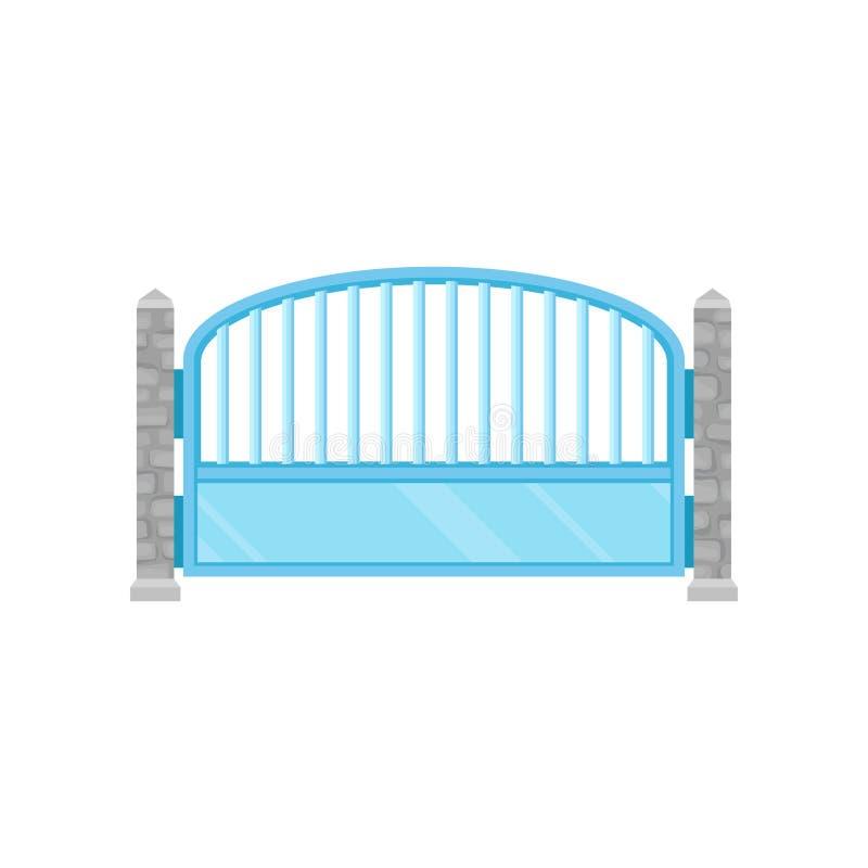 金属化有石篱芭岗位的篱芭,房子的,庭院,公园在白色背景的传染媒介例证防护墙 向量例证