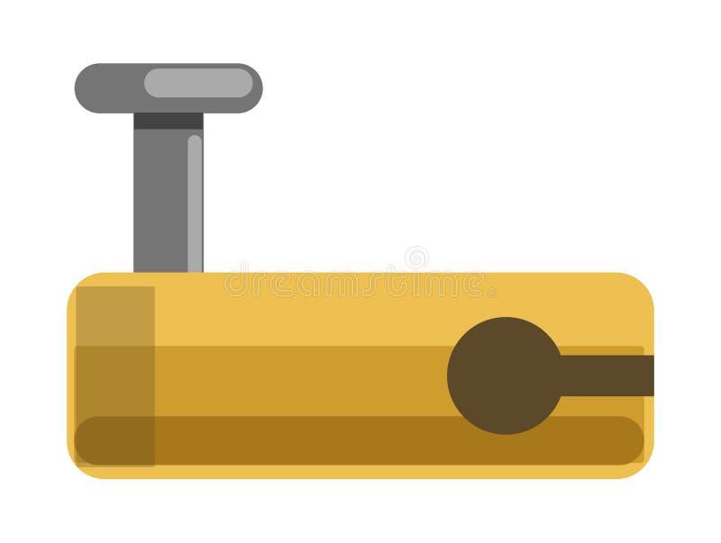 金属化有黄色语科库的锁并且为门闩钻孔 库存例证
