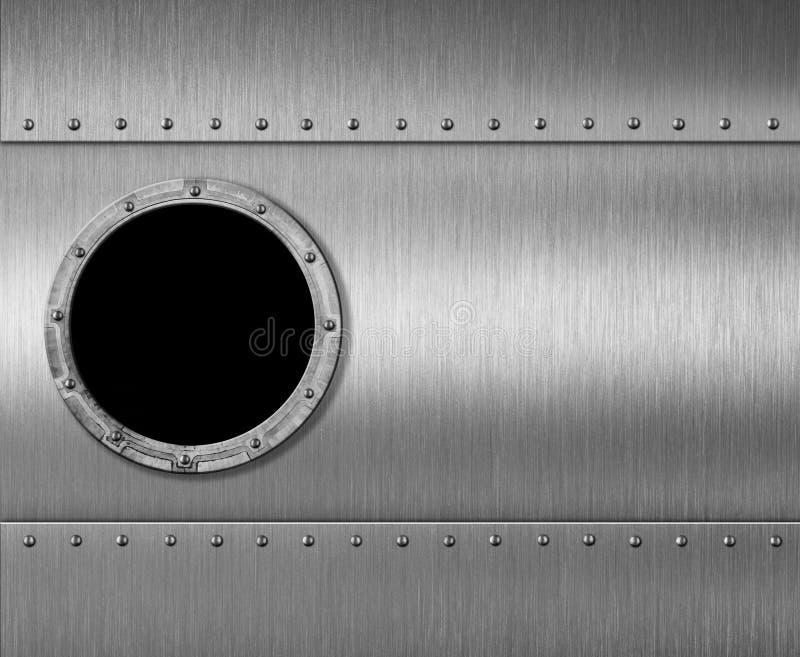 金属化潜水艇或火箭舷窗窗口3d例证 向量例证