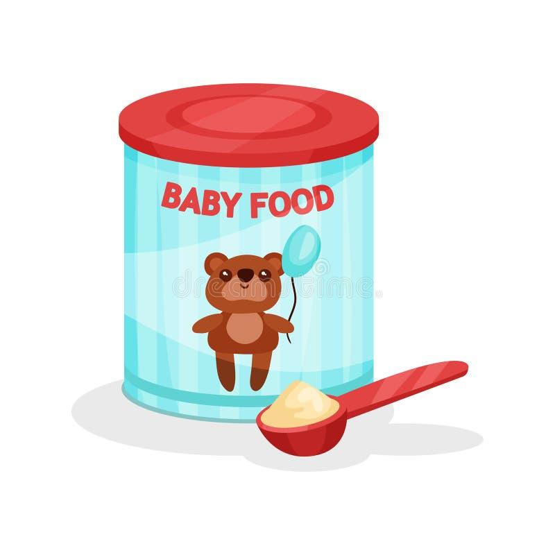 金属化瓶子奶粉和充分的匙子 婴儿食品平的传染媒介象  婴儿惯例 小孩的营养 皇族释放例证