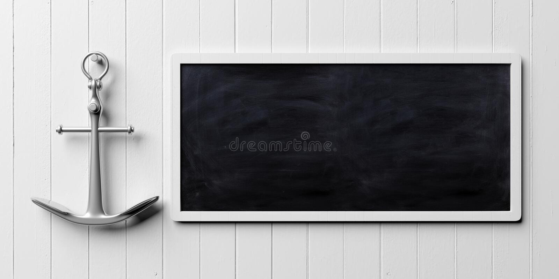 金属化船船锚并且删去在白色木墙壁背景,横幅,拷贝空间的黑板 3d例证 皇族释放例证
