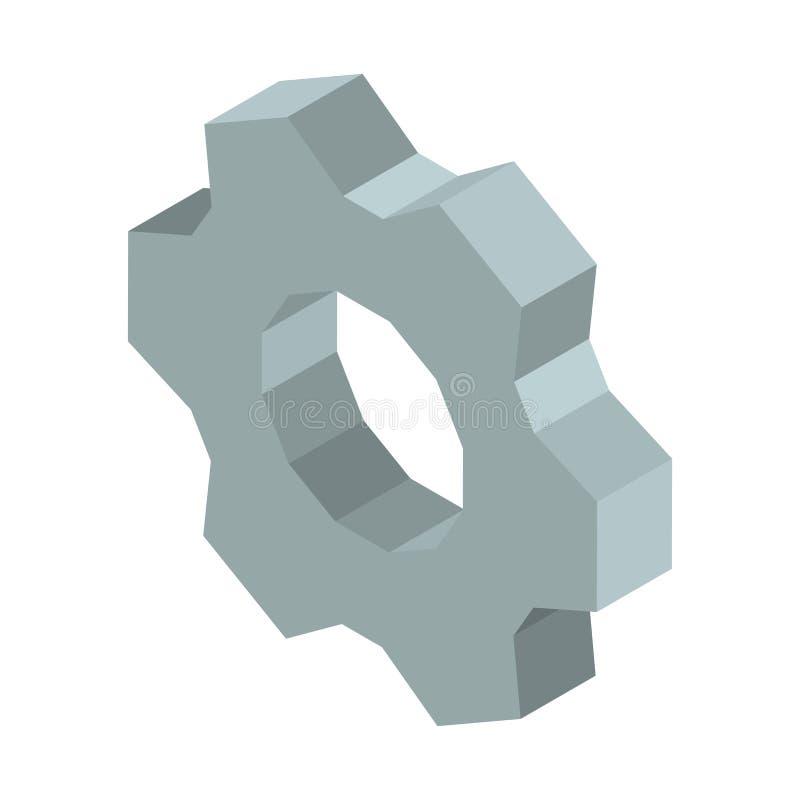 金属化齿轮3D企业象在白色隔绝的传染媒介例证 库存例证