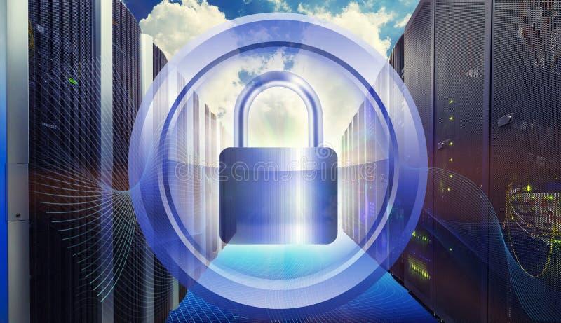 金属化围绕框架在挂锁安全附近有服务器在技术和网络概念的数据中心背景 皇族释放例证