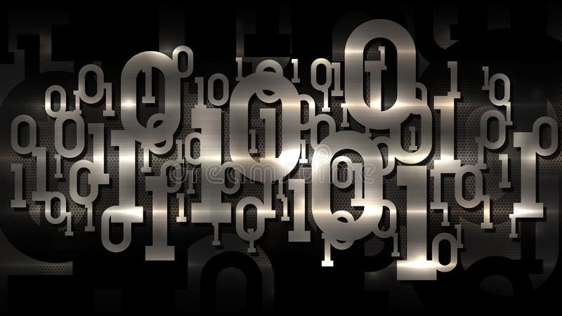 金属发光的矩阵二进制编码,与数字二进制编码,人工智能,云彩服务的黑暗的多孔的背景 皇族释放例证