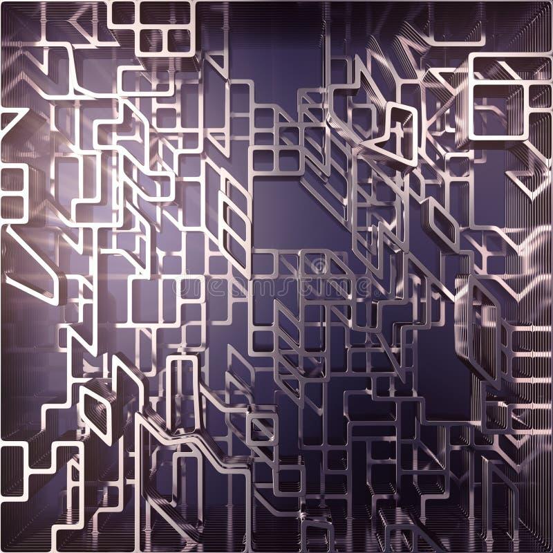 金属圆形的未来派构成 计算机生成的抽象豪华设计 r 库存例证