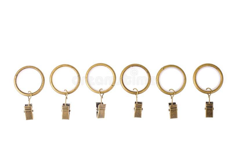 金属圆环和帷幕钳位 库存图片