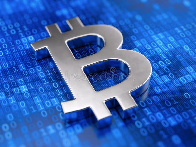 金属在数字式代码背景的bitcoin标志 库存例证