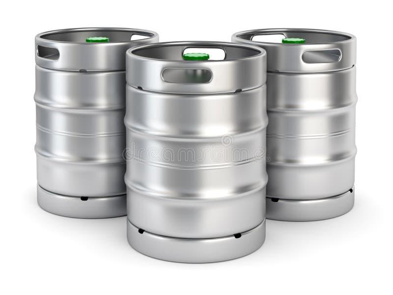 金属在白色背景的啤酒小桶 皇族释放例证
