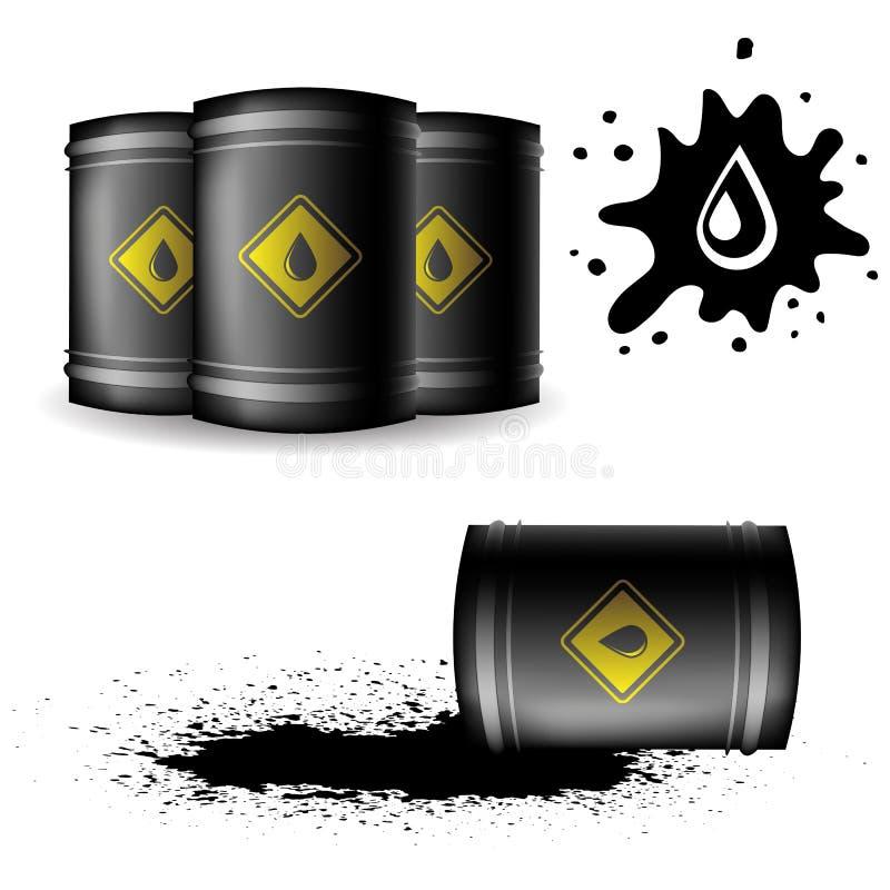 金属在白色背景的油桶 皇族释放例证