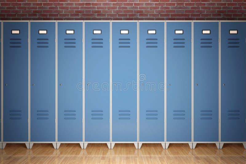 金属在砖墙前面的健身房衣物柜行  3d翻译 库存例证