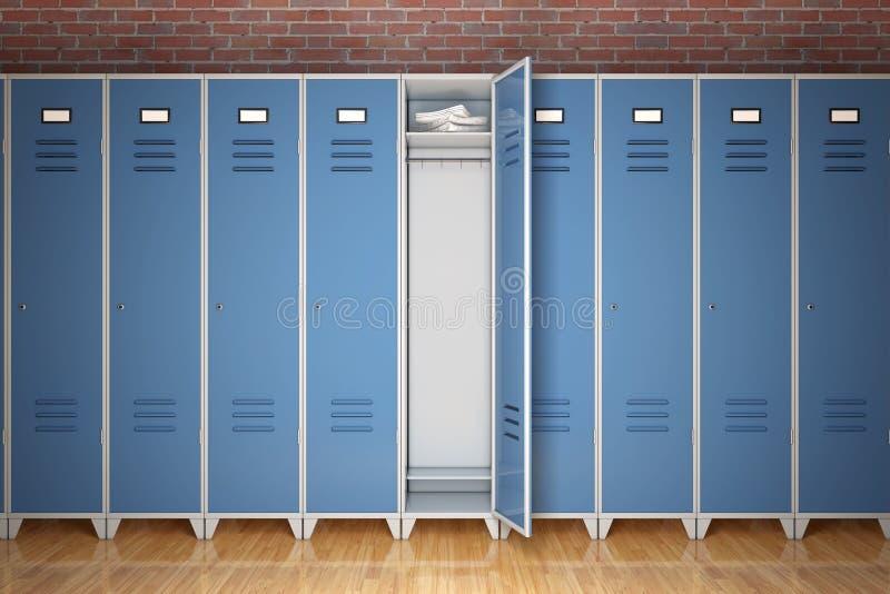 金属在砖墙前面的健身房衣物柜行  3d翻译 向量例证