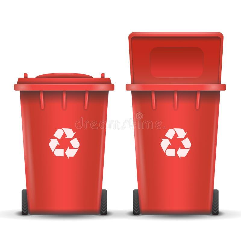 金属垃圾的红色回收站桶传染媒介 打开和关闭 正面图 标志箭头 例证 向量例证