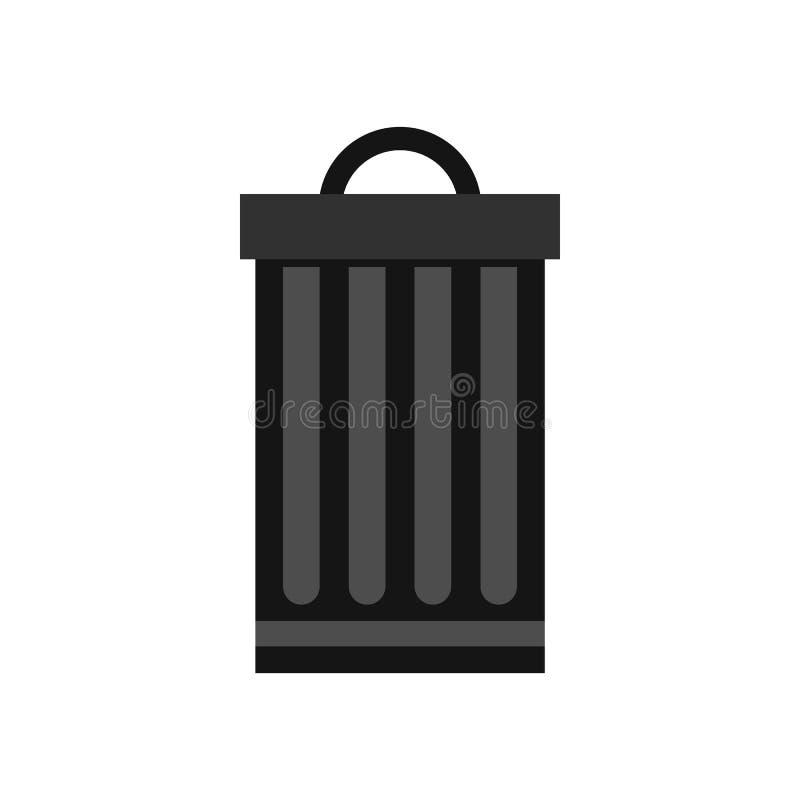 金属垃圾箱象,平的样式 皇族释放例证