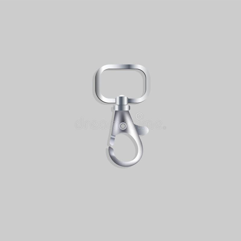 金属夹子、马枪和勾子,青灰色锁象  库存例证