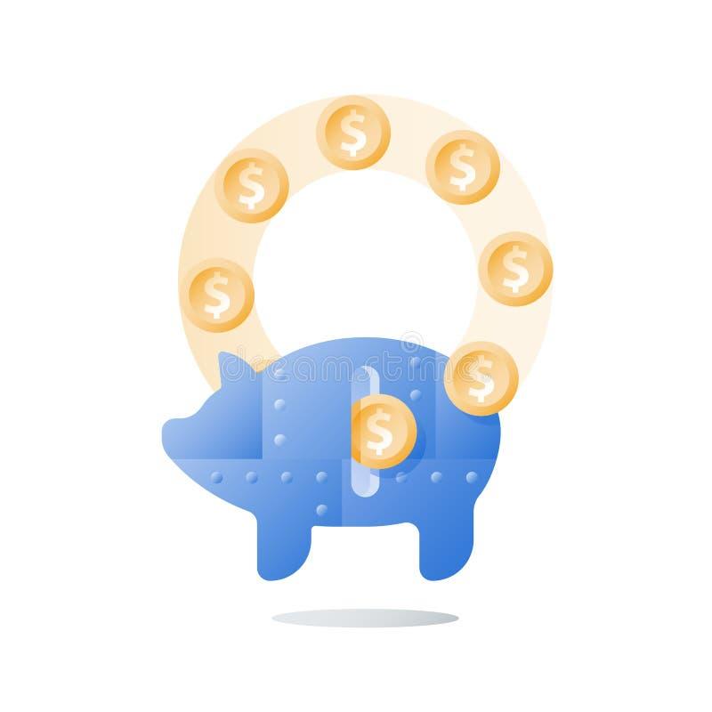 金属存钱罐,长期投资战略,成长箭头,更多金钱,收支助力,财政业绩 向量例证