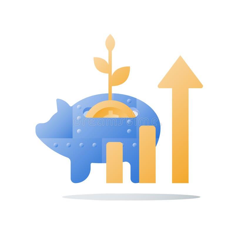 金属存钱罐,长期投资战略,成长箭头,更多金钱,收支助力,财政业绩 库存例证