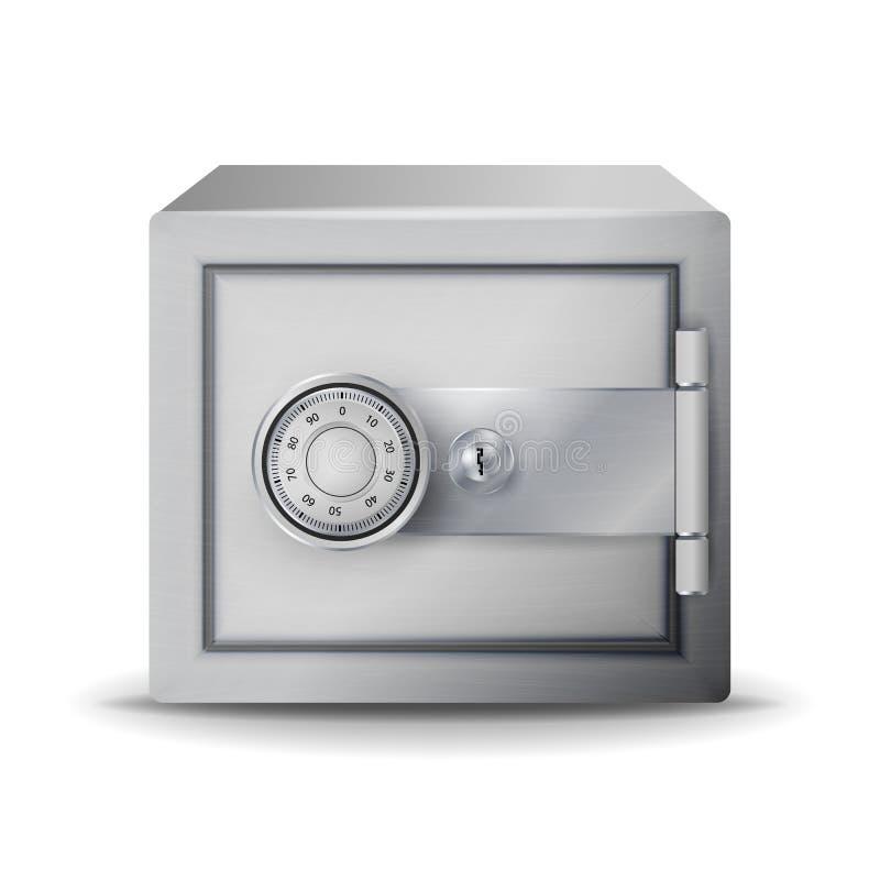 金属安全现实传染媒介 贵重物品保险库 3D一个保险柜或安全箱的例证在关键字码 向量例证