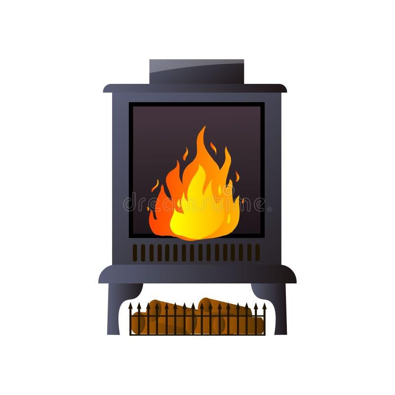 金属或其他物质壁炉与灼烧的火和门 库存例证