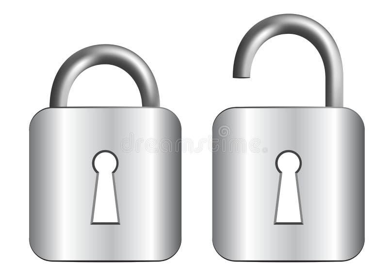 金属挂锁 向量例证