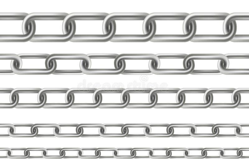 金属摇晃的链节的创造性的传染媒介例证在背景设置了被隔绝 艺术设计无缝的金属 抽象浓缩 皇族释放例证