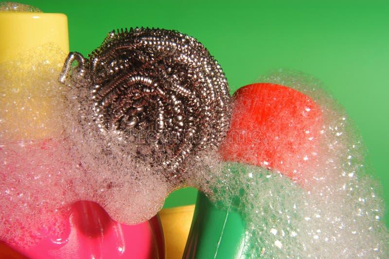 金属摩擦洗涤剂和泡沫 免版税库存图片