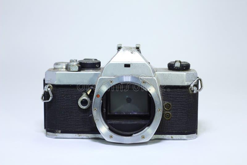 金属无葡萄酒照相机在白色背景len 免版税库存照片