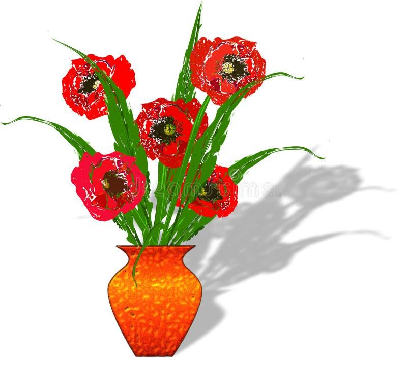 金属有红色鸦片花的被构造的花瓶在白色背景 皇族释放例证