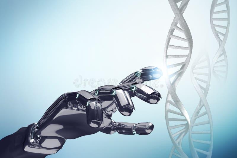 金属机器人手接触脱氧核糖核酸链子 库存例证