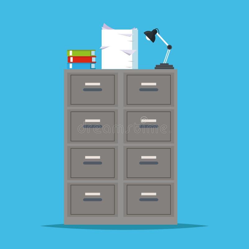 金属档案橱柜存贮lapm办公室 皇族释放例证