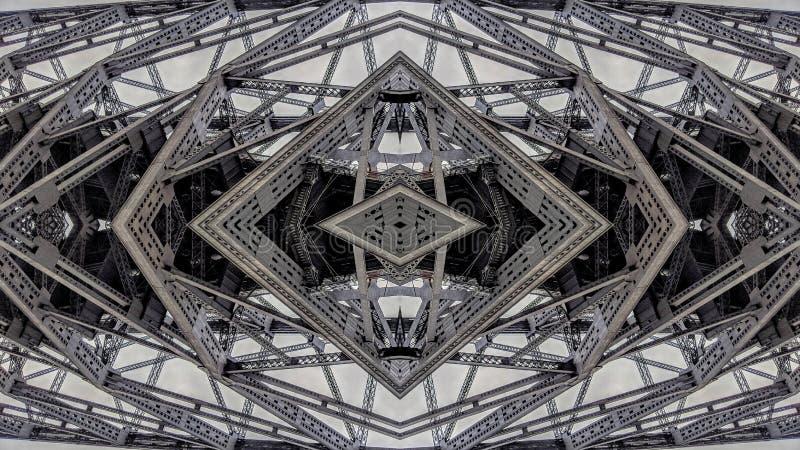 金属桥梁结构的超现实的作用 库存例证